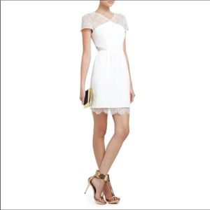 BCBG Max Azria ivory crepe lace Nel dress 0